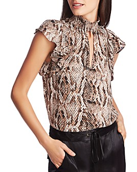 1.STATE - Sultry Snake Smocked Top