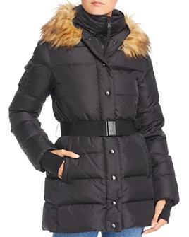 AQUA - Faux Fur-Trim Belted Puffer Coat - 100% Exclusive