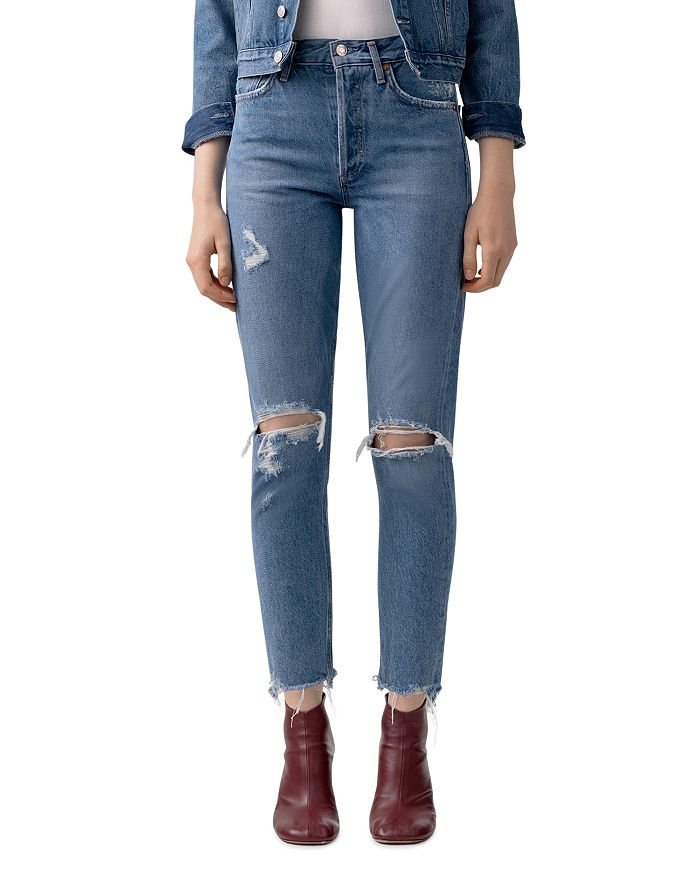 AGOLDE - Jamie High-Rise Distressed Skinny Jeans in Arrival