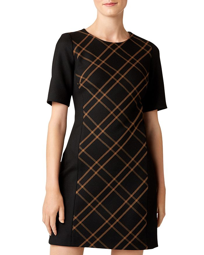 HOBBS LONDON - Mari Plaid-Panel Shift Dress