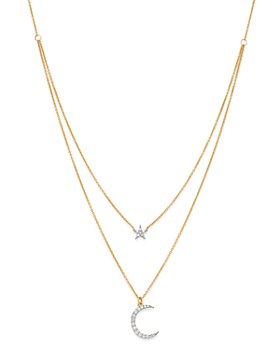 Moon & Meadow - Diamond Two-Layer Star & Moon Pendant Necklace in 14K Yellow Gold, 0.2 ct. t.w. - 100% Exclusive