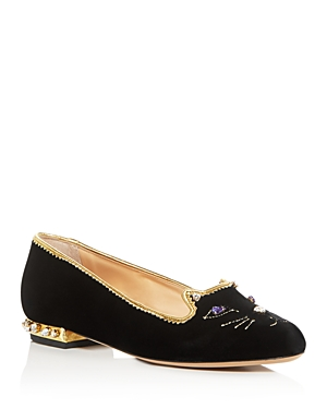 Charlotte Olympia Women's Embellished Kitty Flats In Black