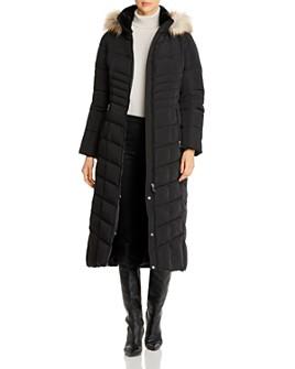 Calvin Klein - Faux Fur-Trim Long Quilted Coat