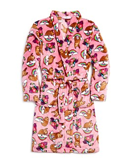 Candy Pink - Girls' Sloth Print Robe - Little Kid, Big Kid