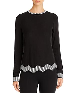 Nic+Zoe Striped-Trim Sweater