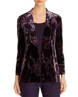 NIC and ZOE - Floral-Print Velvet Jacket