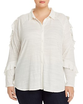 One A Plus - Ruffled-Sleeve Boyfriend Shirt