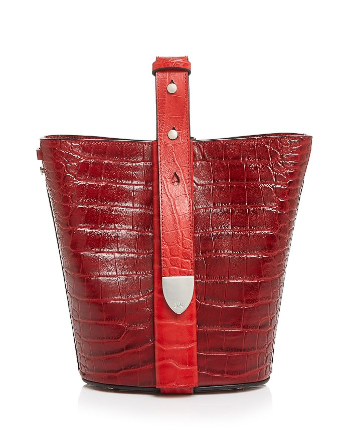 324 New York - Anni Croc-Embossed Convertible Bucket Bag