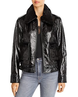 7 For All Mankind - Faux Fur Trimmed Patent Leather Jacket