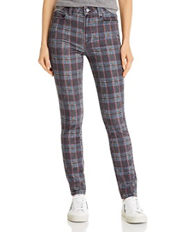 PAIGE - Hoxton Ultra Skinny Jeans in Black Atlantic Tartan Plain