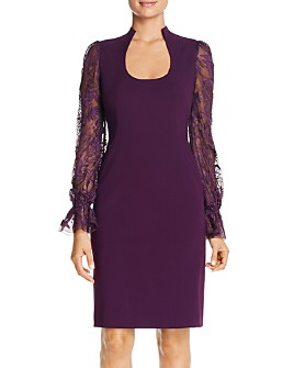 Elie Tahari - Diva Embroidered-Sleeve Dress