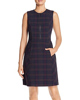 Elie Tahari - Louisa Plaid Zip-Front Dress