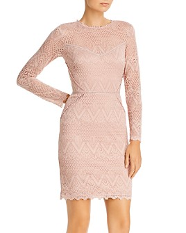AQUA - Long-Sleeve Lace Sheath Dress - 100% Exclusive