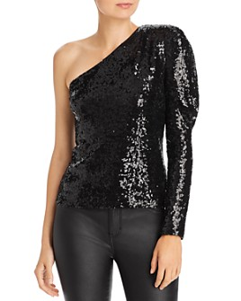 WAYF - Venus One-Shoulder Sequined Top
