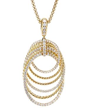 David Yurman 18K Yellow Gold Origami Pendant Necklace with Diamonds, 32