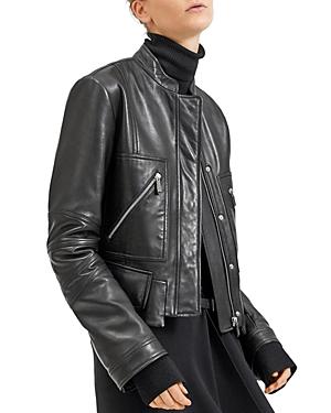 Barbara Bui Cropped Moto-Style Leather Jacket