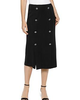 Misook - Wrinkle-Resistant Button-Trim Skirt