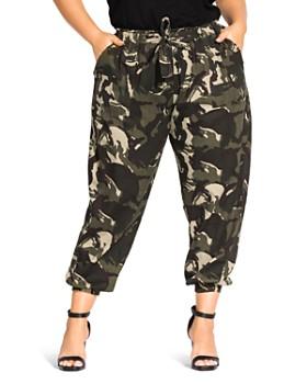 City Chic Plus - Cropped Cotton Camo Jogger Pants