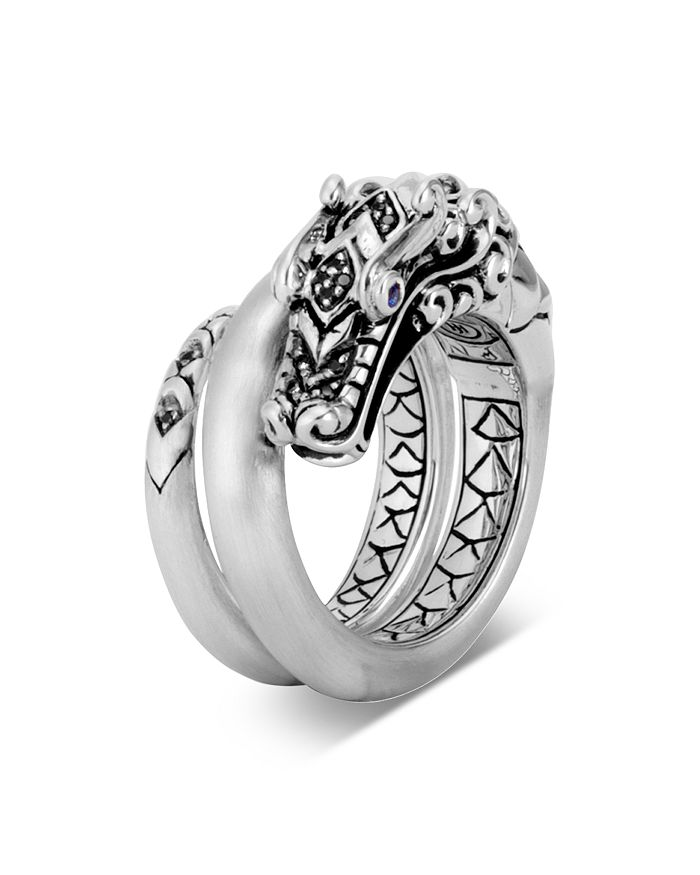 JOHN HARDY - Sterling Silver Legends Naga Black Spinel & Blue Sapphire Eyes Ring With Brushed Finish