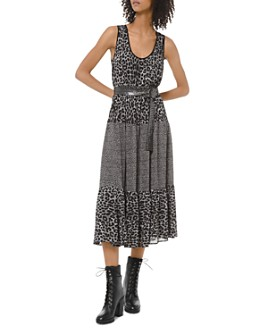 MICHAEL Michael Kors - Tiered Leopard-Print Georgette Midi Dress