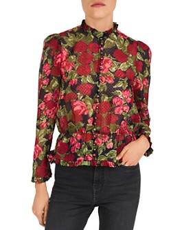 The Kooples - Painted Roses Embroidered Silk Blouse