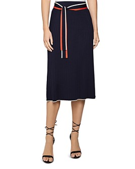 REISS - Mia Belted Ribbed Knit Midi Skirt