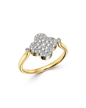Bloomingdale's - Black Onyx & Diamond Reversible Clover Ring in 14K Yellow Gold - 100% Exclusive