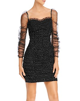 Endless Rose - Puff-Sleeve Ruched Mesh Dress - 100% Exclusive