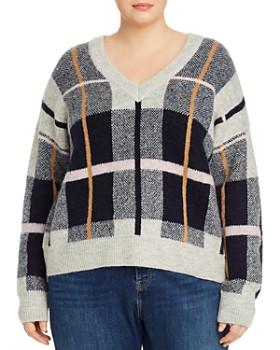 AQUA Curve - Plaid V-Neck Sweater - 100% Exclusive