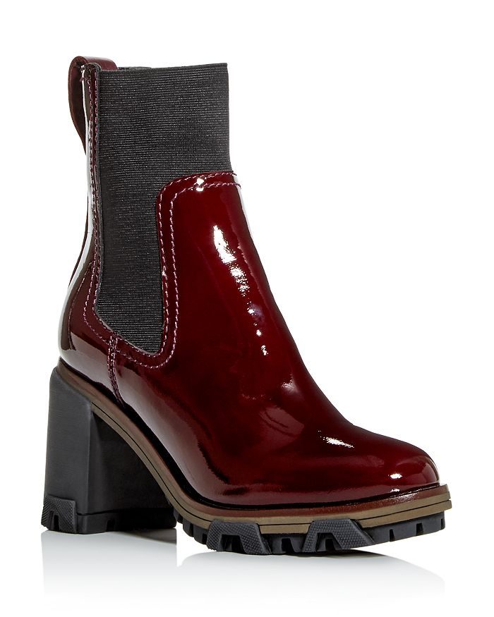 Rag & Bone Women's Shiloh Block High-heel Platform Boots In Merlot Patent Leather