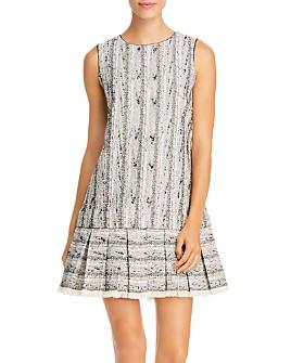 PAULE KA - Pleated Tweed Mini Dress