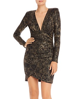 Alice and Olivia - Diaz Ruched Snake Print Dress