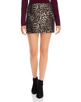 Alice and Olivia - Elana Leopard Jacquard Mini Skirt