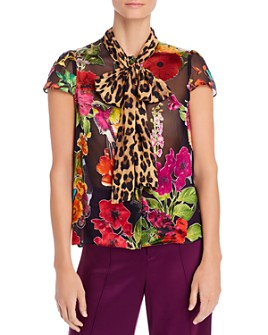 Alice and Olivia - Jeannie Tie-Neck Burnout Blouse