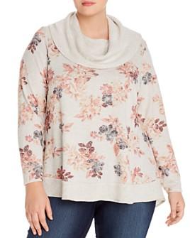Cupio Plus - Floral-Print Cowl-Neck Sweater