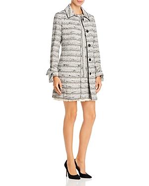 Paule Ka Piped Tie-Cuff Tweed Coat