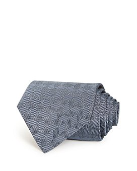 Armani - Stripe & Chevron Grid Silk Wide Tie