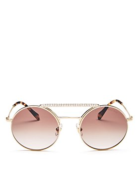 Miu Miu - Women's Crystal Brow Bar Round Sunglasses, 55mm