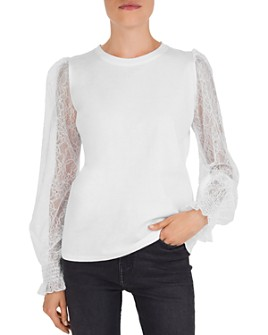 The Kooples - Sheer Lace-Sleeve Jersey Top