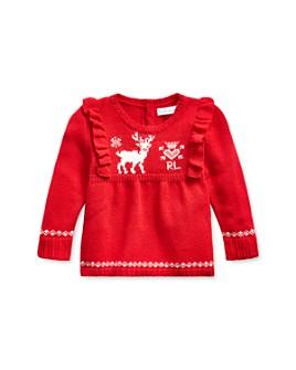 Ralph Lauren - Girls' Ruffled Reindeer Sweater - Baby