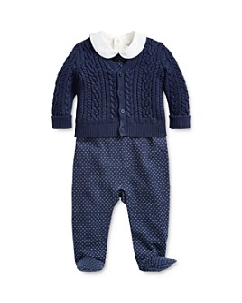 Ralph Lauren - Boys' Cable-Knit Cardigan, Bodysuit & Footie Set - Baby