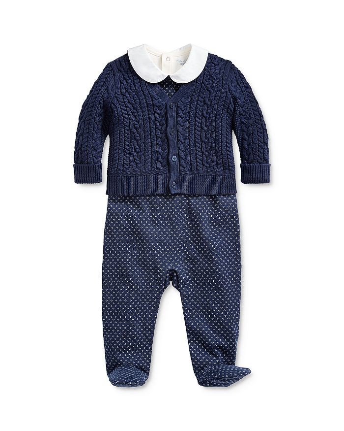 Ralph Lauren - Boys' Cable-Knit Cardigan, Bodysuit & Footie Set - Baby