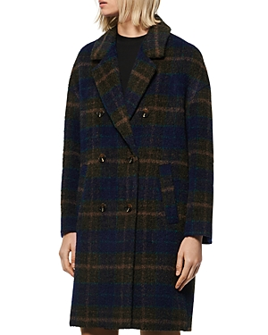 Marc New York Coats PLAID DOUBLE-BREASTED COAT