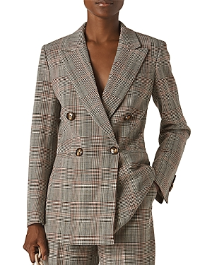Whistles Hourglass Glen Plaid Double-Breasted Blazer