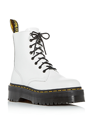 Take military style to the next level in Dr. Marten\\\'s leather combat booties, set atop an extra-thick platform lug sole.