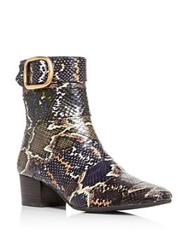 COACH - Women's Cassandra Snake-Embossed Block-Heel Booties