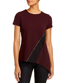 Donna Karan - Embellished Mixed-Media Top