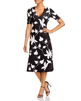 St. John - Floral Jacquard Knit V-Neck Midi Dress