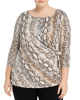 Status by Chenault Plus - Draped Snakeskin-Print Top