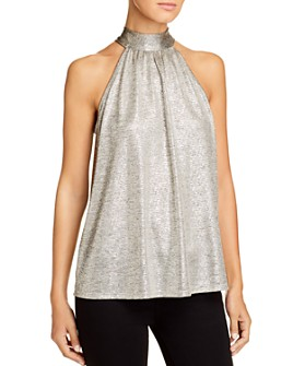 Kim & Cami - Sleeveless Metallic Tie-Back Top